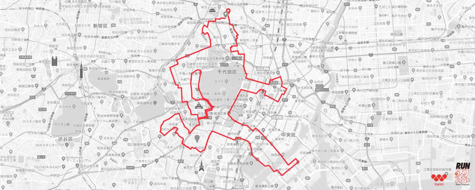 GPSアート:皇居ランナー